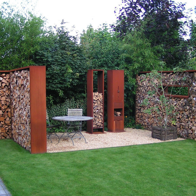 acier corten simple brasero carr en acier corten u the square with acier corten brise vue. Black Bedroom Furniture Sets. Home Design Ideas